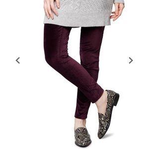 NWOT Maternity Purple Velvet Skinny Pants